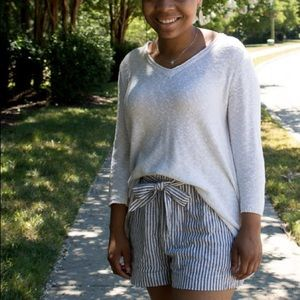 Blue and white striped linen shorts
